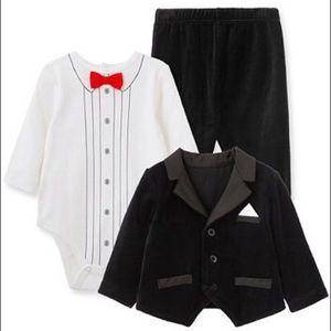 NWT Little Me Baby Boy Tuxedo 3pc Jacket Set 6M